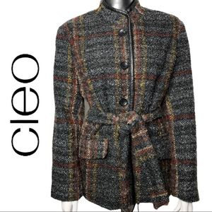 💋2/$30💋 Cleo Tweed Plaid Button Front Jacket